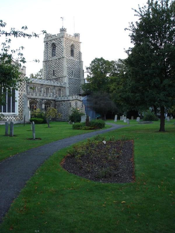 Again Saint Mary's Church, now from distance with all those graves and footpath.