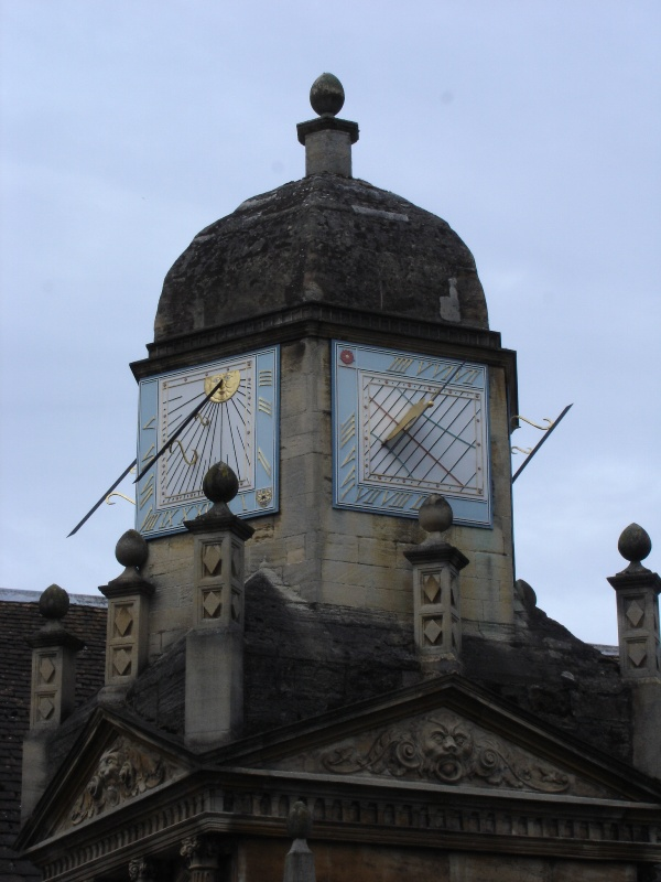 This sundial was hidden in a tiny street on a very short tower. Unfortunately the sun wasn't shining...