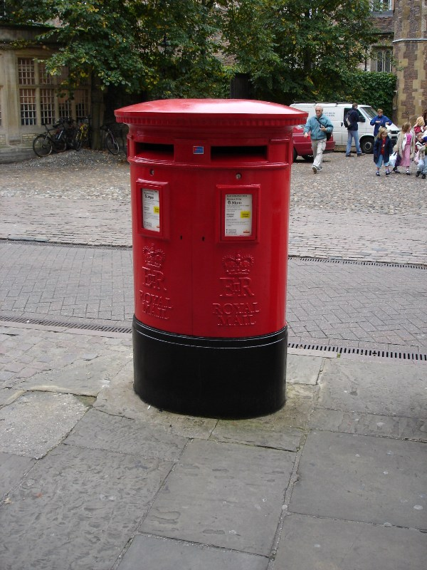 "A typical English post box, usually called ""pillar box""."