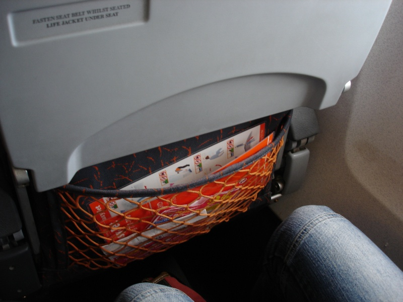 My new friend's knees and an emeregency instructions in the seat's pocket.
