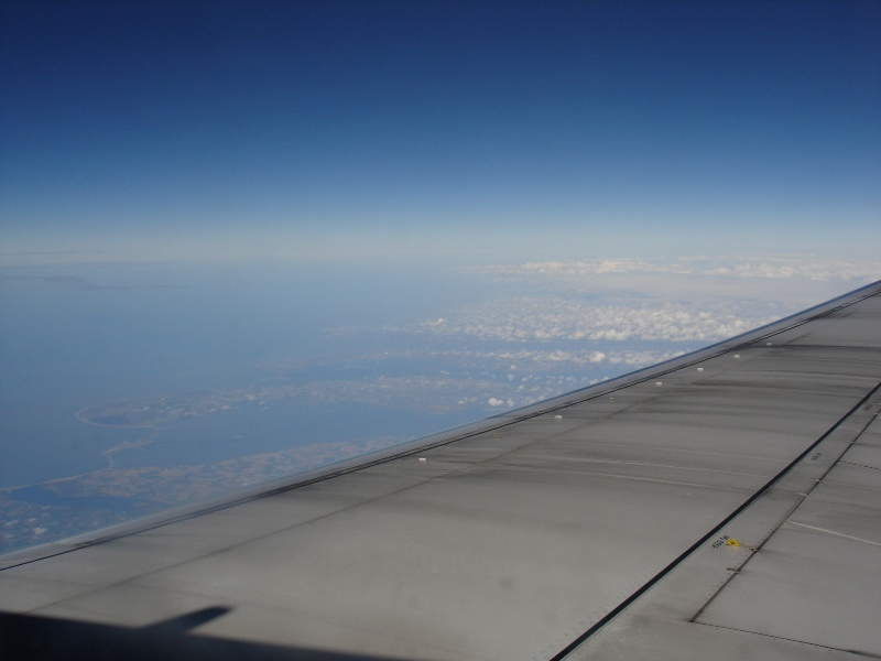 This was the most beautiful view we had during our flight! Unfortunately, it doesn't look that nice on a photograph. :-(