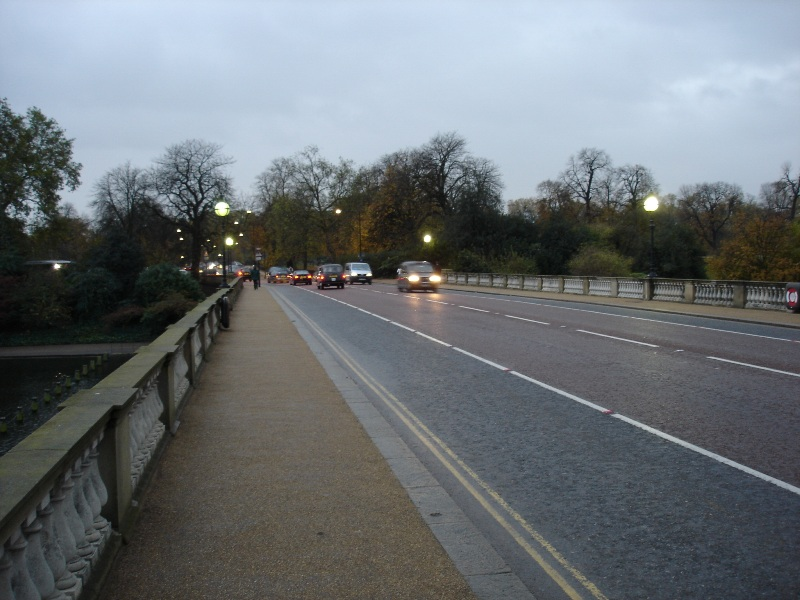 One of the roads that leads across the Hyde Park. It's actually a bridge...