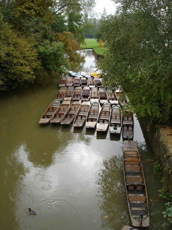 We went on traversing a bridge. The river below us was full of punts as it was in Cambridge before.