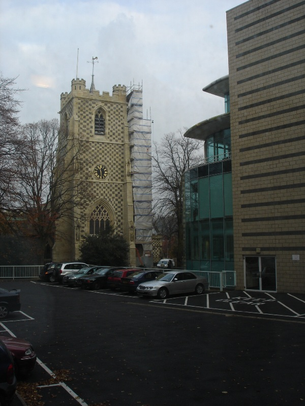 Now I'm looking back at the Saint Mary's Church. I was standing there few minutes ago taking a picture of the car park.