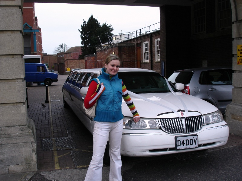 "That's Erika with ""her"" limousine. She made me take this picture, she wanted to have a picture of her with a limousine."